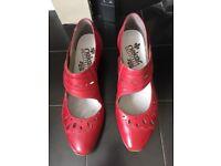 1 pair Reiker red shoes, 1 pair Reiker sparkly sandals, 1 pair Clarks white sandals. All size 41.