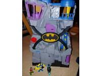 Imaginext batman batcave with figures and bat bike