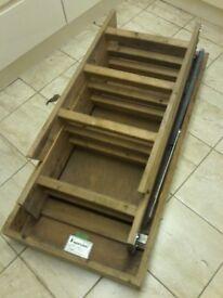 loft ladder .complete folding wooden spring loaded ladder with attached lockable hatch
