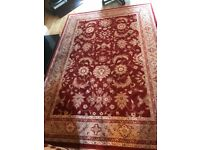 Large beige and red floor rug 200x290