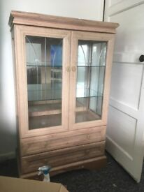 Solid wood and glass display cabinet