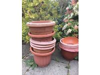 15 Garden Plant Pots Medium And Large Plastic Terracotta Style - £35 for lot