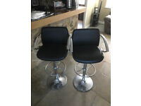 2 x Adjustable Height Chrome and Black Leather Bar Stool from Feblands