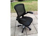 Adjustable desk chair, folding arms