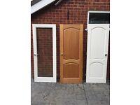Solid wood internal doors including handles hinges and locks