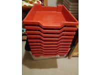 10 x red Gratnell shallow storage trays