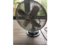 Chrome vintage-style desk fan: 14 inches across; 3-speed; oscillating