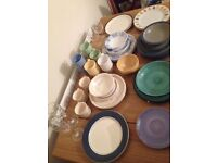 Various plates, cups, bowls and glasses