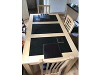 Wooden / Granite Dining Table & 4x Chairs