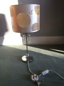 Bedside Lamp With Cream Shade And Dangly Crystal Decoration