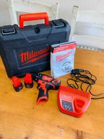 Milwaukee M12 12V percussion drill 2x 12V 2.0AH LI-ION battery
