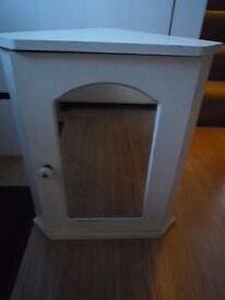 Shabby Chic White Bathroom Corner Cabinet with Mirror Door