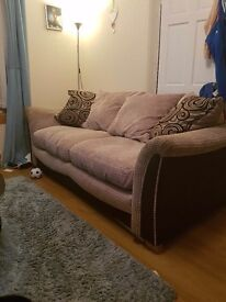Large 2 seater sofa with chair and footstool