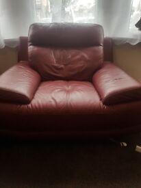 Beautiful Smokey Red Leather Single Sofa £200