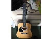 Left Handed Steel String Acoustic Guitar with case, capo and strap