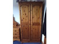 Solid Antique Pine Double Wardrobe - excellent quality