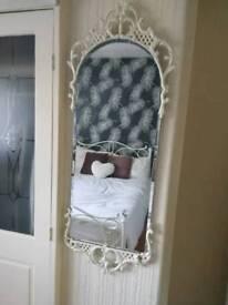 Large ornate metal framed bevelled edge mirror vintage.