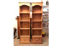 Pair of Narrow Solid Pine Bookcases