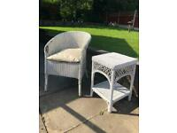 Lark Manor Narron White Wicker Chair and Table