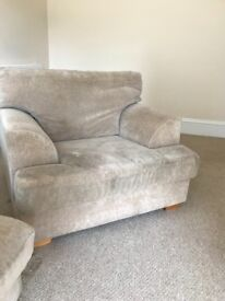 Sofa and Matching Armchair, Velour Fabric, Good Condition - Pinner