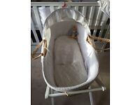 Moses Basket, new mattress, sheets and Stand