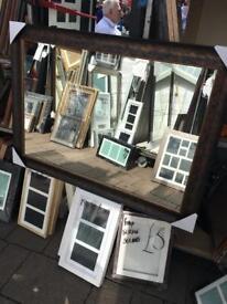 "mottled brown wood framed mirror 30""x42"""