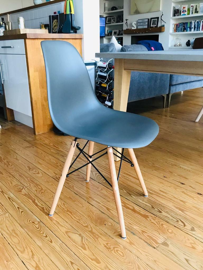 Modern dining chairs x6 2 white 2 teal 2 moss grey kingston