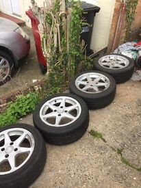4 195x50/15 alloy wheels and tyres need not in good condition