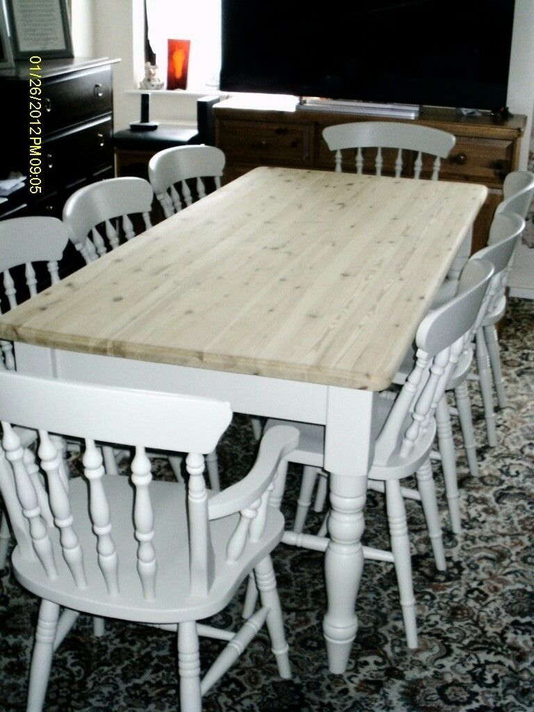 TOP QUALITY FARMHOUSE TABLE AND 8 CHAIRS INC 2 CARVERS PROFESIONALLY PAINTED IN FARROW & BALL, BONE