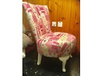 Patchwork style bedroom chair.