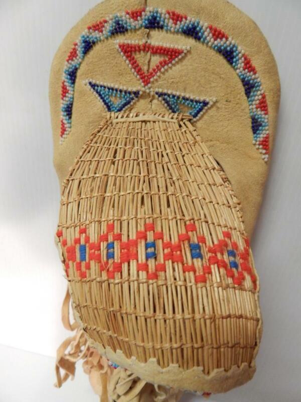 VINTAGE E. MONO PAIUTE INDIAN BEADED BASKET HIDE CHILD TOY / DOLL CRADLEBOARD -