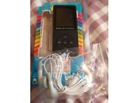 MP4 player plus radio. Stores up to 128 GB.