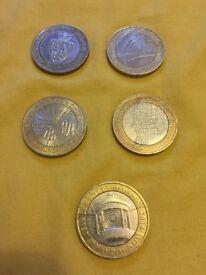 Rare £2 coins x 5