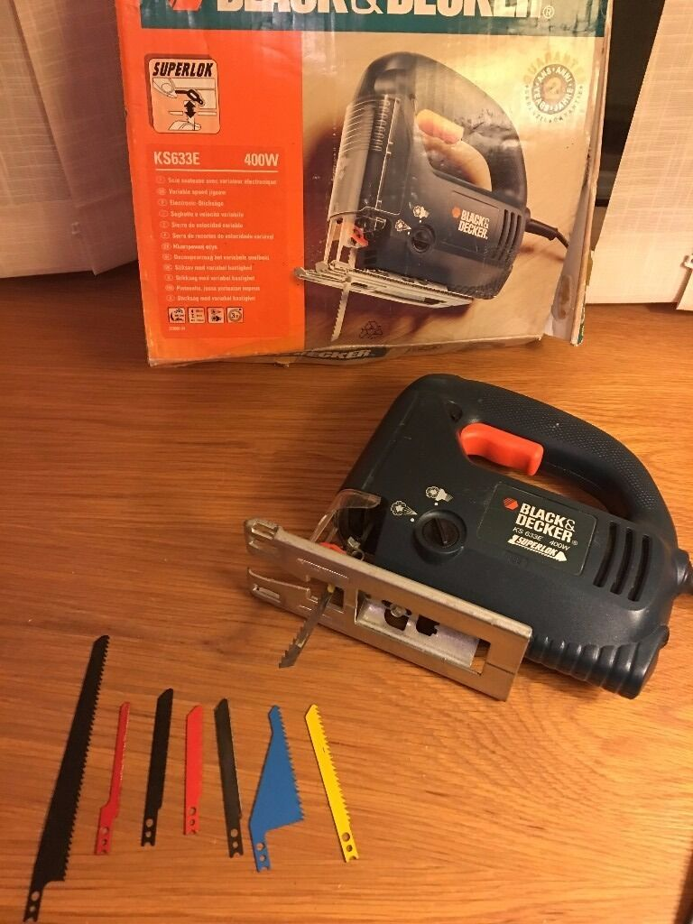 Black and decker jigsaw ks633e with blades and box 240v in black and decker jigsaw ks633e with blades and box 240v greentooth Image collections