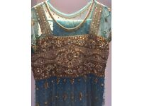 BLUE NET DRESS WITH ANTIQUE GOLD WORK - UK SIZE 8