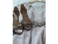 Jenny Peckham Occasional/Evening wear dress and Silver Debut designer heels size 6