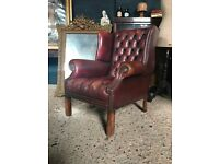 Vintage Leather Chesterfield Buttoned Armchair (Delivery available)