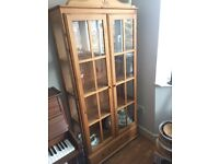 Pine and Glass China Cabinet