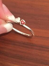 Silver 'Two Hearts' Ring