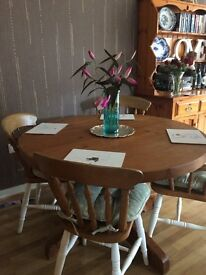 Rustic solid pine dining table and spindle back chairs