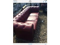 """We have our red 3 seater Chesterfield for sale due change of colour, used condition""""years left in it"""