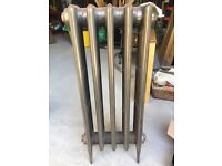 Polished cast iron radiator - Cardiff CF3 - complete with feet and vintage style valves