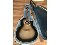 6 string Acoustic Electric Guitar and hard Case: Applause by Kaman AE138, Green Burst Finish