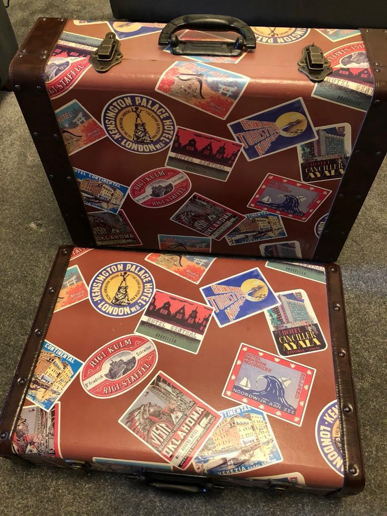 Two heavy vintage suitcases immaculate condition , ideal for display or props excellent condition