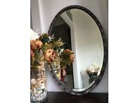 Vintage, charming and romantic feel, shabby chic, oval mirror for hallway, bedroom, sitting room