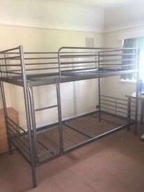 Almost new silver bunk bed frame