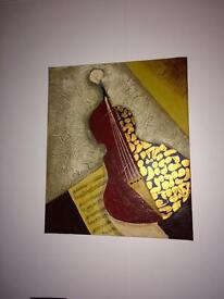 2 canvas paintings Music themed