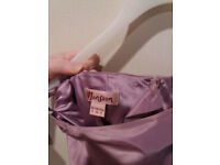 MONSOON dusky pink/lilac floor length silk skirt and boned bodice top