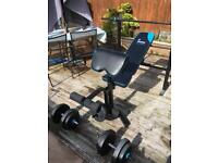 Men's Health Folding Workout Bench inc 35kg weights
