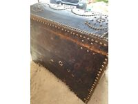 Old leather and rivet storage chest